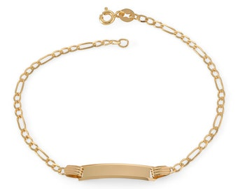"""Babies 9ct Yellow Gold 6"""" Figaro Chain ID Bracelet Hallmarked - Real 9K Gold"""