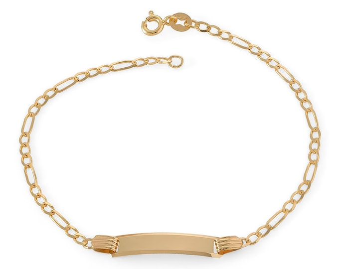 "Babies 9ct Yellow Gold 6"" Figaro Chain ID Bracelet Hallmarked - Real 9K Gold"
