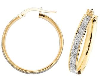 9ct Gold Stardust Hoop Earrings 10mm 15mm 20mm 25mm 30mm 40mm 50mm