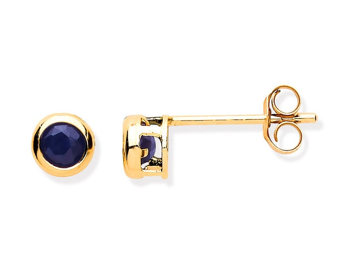 Blue Sapphire Stud Earrings - 9ct Yellow Gold 3mm Real Sapphire Stud Earrings