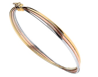 9ct Tri Colour Gold Interlocked 3 Row Russian Wedding Style Bangle Hallmarked - Real 9K Gold