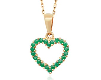 9ct Yellow Gold 0.46ct Claw Set Real Emerald Open 12mm Heart Pendant - Real 9K Gold