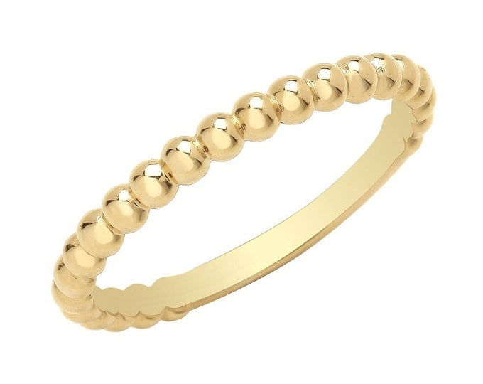 Ladies 9ct Yellow Gold 2mm Plain Polished Bobble Bead Ribbed Ring Hallmarked 375 - Real 9K Gold