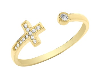 Ladies 9ct Yellow Gold Channel Set Cz Sideways Cross Torque Ring - Real 9K Gold