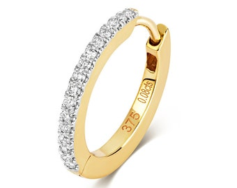 9ct Yellow Gold 15mm Diameter Claw Set 0.08ct Diamond Hinged Cartilage Single Hoop Earring - Real 9K Gold