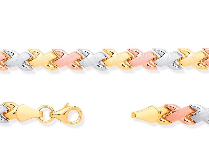 "Ladies 9ct 3 Colour Rose Yellow White Gold Kisses Link 7"" Bracelet Hallmarked"