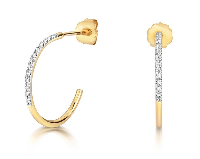 9ct Yellow Gold 14mm Pave Set 0.04ct Diamond Half Hoop Earrings - Real 9K Gold