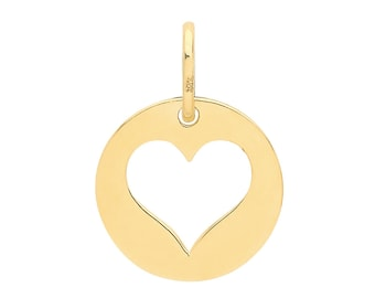 Small 9ct Yellow Gold 10mm Cut Out Heart Disc Charm Pendant - Real 9K Gold