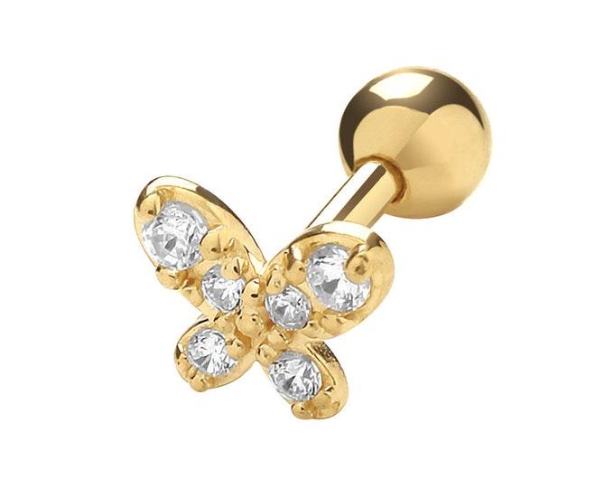 9K Yellow Gold Cz Butterfly Cartilage 6mm Bar Single Stud Screw Back Earring