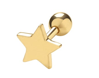9ct Yellow Gold Plain 6mm Star Helix Cartilage 6mm Bar Single Stud Screw Back Earring - Real 9K Gold