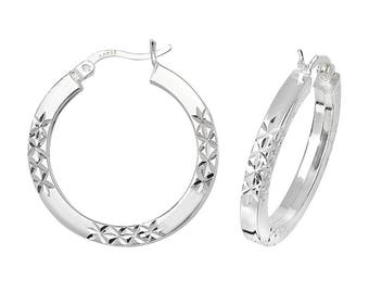 Sterling Silver Square Tube Criss Cross Diamond Cut Hoop Earrings  - Choice of sizes