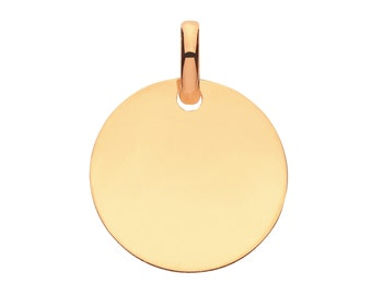 9ct Yellow Gold 14mm Flat Round Plain Polished Disc Tag Pendant