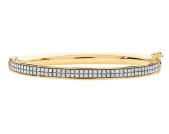 9ct Yellow Gold Princess Stardust 3mm Hinged Baby Bangle Hallmarked - Real 9K Gold