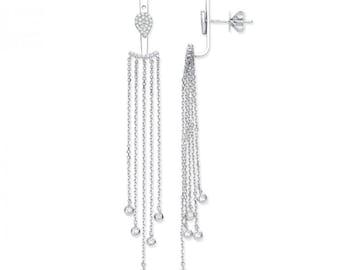 9ct White Gold Cuff Wrap 0.31ct Diamond 5.5cm Long Chain Drop Earrings