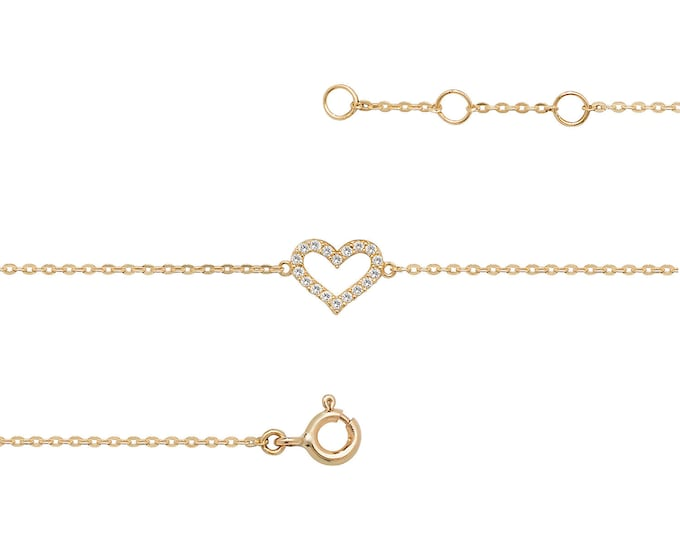 "Ladies 9ct Yellow Gold Cz Heart Charm Link 7.25"" Fine Lightweight Chain Bracelet"