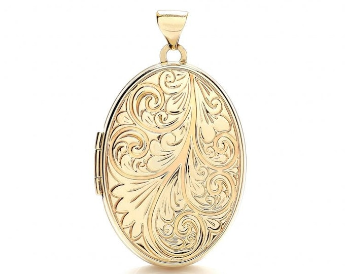 9ct Yellow Gold Oval Shaped Locket With Full Scroll Embossed Design