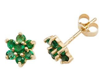 Green Emerald Cluster Stud Earrings - 9ct Yellow Gold 4.5mm Real Emerald Flower Earrings