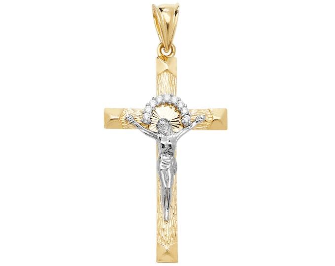 9ct 2 Colour Gold 4cm Sunburst Crucifix Pendant - Christ Crucifix Necklace Crucifixion