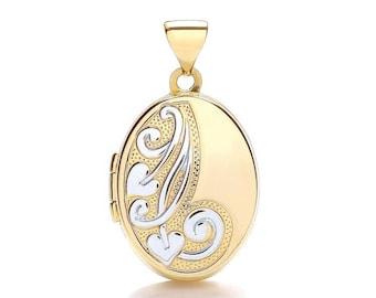 9ct 2 Colour Gold Half Engraved Small Oval Shaped 2 Photo Locket - Real 9K Gold