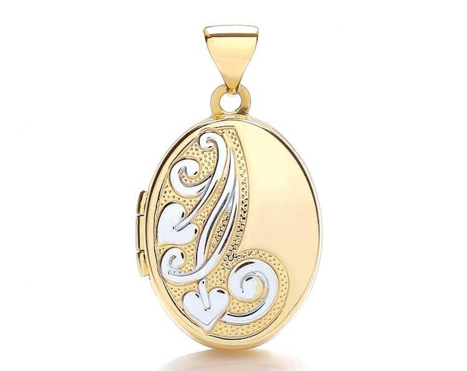 9ct 2 Colour Gold Half Engraved Small Oval Shaped 2 Photo Locket