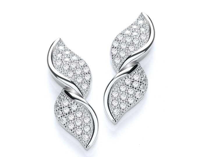 925 Sterling Silver Micro Pave Cz Double Twisted Leaf Stud Earrings