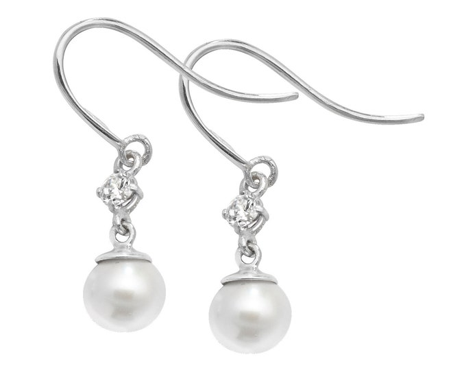 9ct White Gold 4mm Cultured Pearl & Cz Hook Drop Earrings