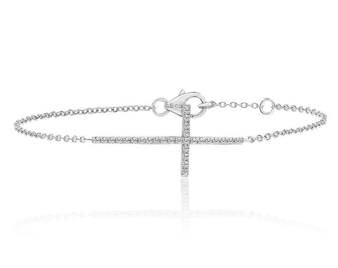 "925 Sterling Silver Cz Sideways Cross 7"" Bracelet Rhodium Plated"