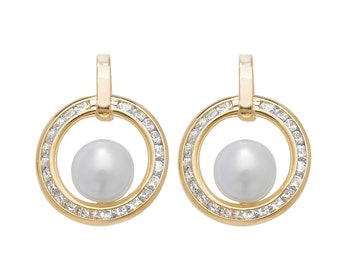9ct Yellow Gold 12mm Channel Set Cz Circle of Life & Pearl Stud Earrings - Real 9K Gold