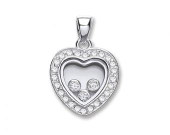 925 Sterling Silver Trilogy Floating Cubic Zirconia Heart Shaped Pendant