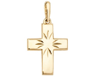 9ct Yellow Gold 1.2cm Baby First Cross Pendant With Diamond Cut Pattern