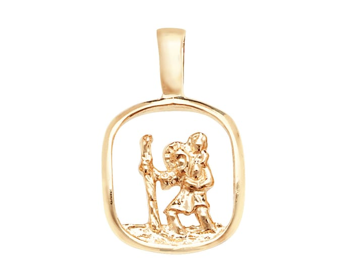 Small 9ct Yellow Gold 1.4cm Square Cut Out St Christopher Medallion Charm Pendant