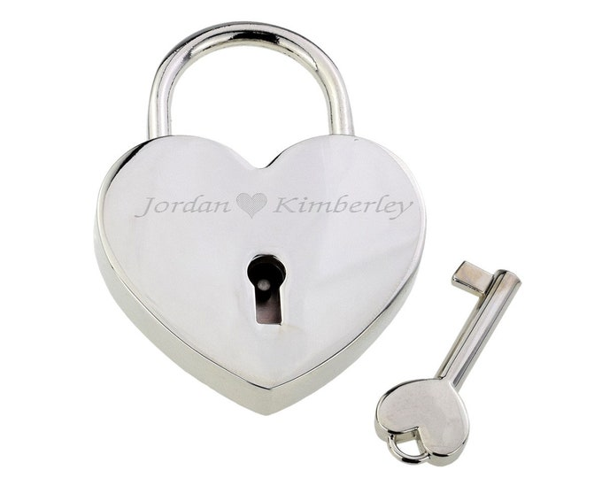 Personalised Silver Chromed Locked In Love Padlock with Key - Engraved Names Message