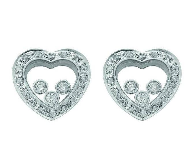 Sterling Silver Trilogy Floating Cubic Zirconia Heart Shaped Stud Earrings