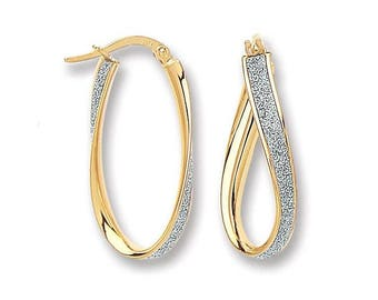 9ct Gold 25mm Twisted Oval Hoop Earrings With Sparkly Moondust Stripe