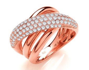 Rose Gold on 925 Sterling Silver Micro Pave Cz Crossover Ring