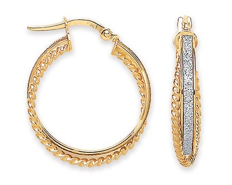 9ct Yellow Gold & Stardust 20mm Twisted Ribbed Edge Double Hoop Earrings