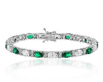 "Ladies 925 Sterling Silver Oval Cut Claw Set Cz Emerald Green 7"" Tennis Bracelet"