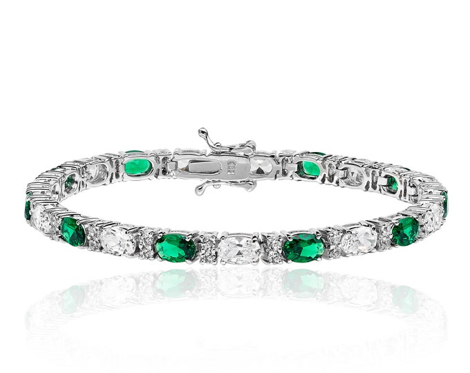 "Sterling Silver Oval Cut Claw Set Cz 7"" Bracelet - Sapphire Blue-Emerald Green-Ruby Red"