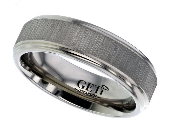 7mm Wide Titanium Wedding Ring Satin Vertical Striped Centre & Stepped Edges - Made to Order - FREE ENGRAVING