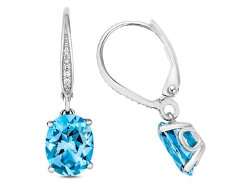 9K Gold Diamond & Swiss Blue Oval Cut Topaz Drop Earrings