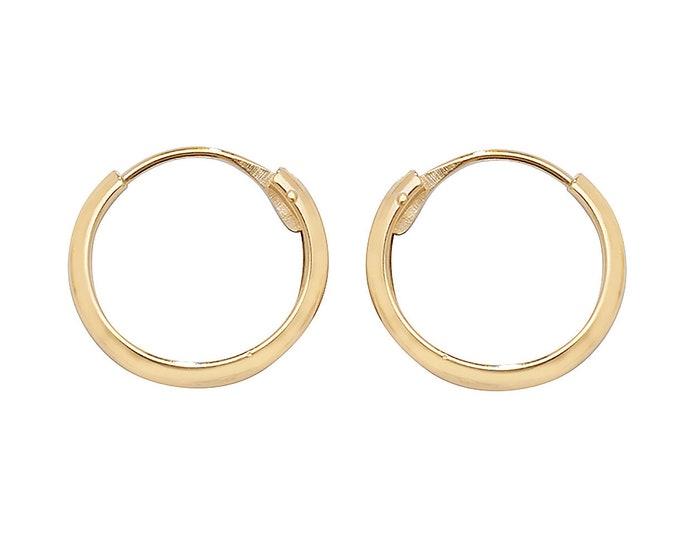 9ct Yellow Gold 10mm Diameter Hinged Threader Sleeper Hoop Earrings - Real 9K Gold