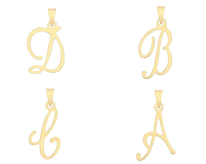 9K Yellow Gold 2.5cm High Modern Plain Flat Script Initial Letter Pendants
