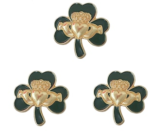 Pack 3 x Irish Gold Claddagh Green Shamrock Lapel Pin Badge St Patrick's Day 2021