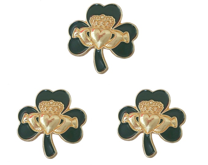 Pack 3 x Irish Gold Claddagh Green Shamrock Lapel Pin Badge St Patrick's Day 2020