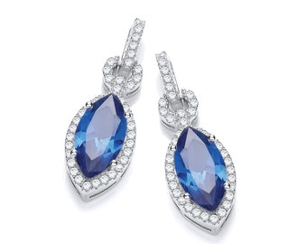 925 Sterling Silver Sapphire Blue Marquise Cut Cz Stud Drop Earrings