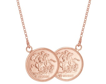 "St George Double Half Sovereign Coin 17"" Necklace 925 Sterling Silver-Rose Gold-Yellow Gold"