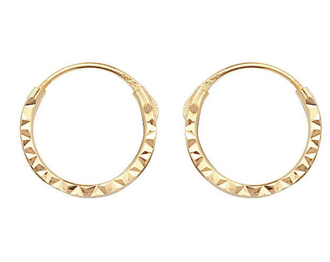 Small 9ct Yellow Gold 8mm Diameter Diamond Cut Sleeper Hoop Earrings