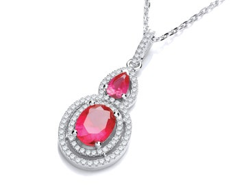 """Sterling Silver Pear & Oval Cz Cluster Drop Pendant 18"""" Necklace -Blue-Red"""