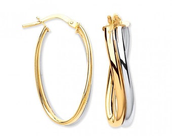 9ct 2 Colour Gold Twisted Wave Oval Hoop Earrings Hallmarked 25x10mm