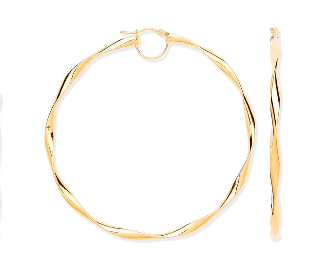 Large 65mm Diameter 9ct Yellow Gold Twisted Ribbon Hoop Earrings Hallmarked